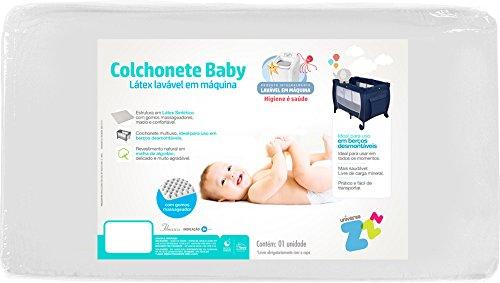 Colchonete Para Berço Desmontável Baby 72X105X04, Fibrasca, Revestimento 100% Malha De Algodão, Branco