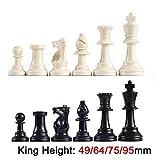 NL Ajedrez Plástico, Piezas 32 Piezas Juego De Ajedrez Rey Altura 49/64/75/95 Mm Juego De Ajedrez Estándar Medieval Piezas De Ajedrez For Juegos De Viaje IA13 (Color : King Height 75mm)