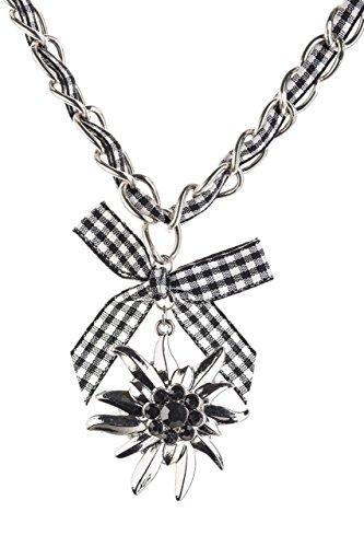Trachtenkette Edelweiss mit Satinband Schleife und eleganten Gliedern Halskette für Dirndl und Lederhose (Schwarz/Weiss)