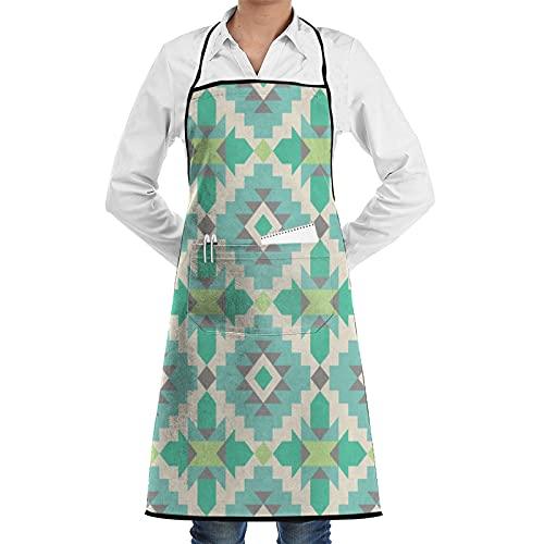 ASNIVI Delantal de cocina,Patrón étnico tribal en tonos menta Azteca Navajo Nativo americano, delantal con 2 bolsillos,Delantales para cocina casera, cocina de restaurante, cafetería, barbacoa