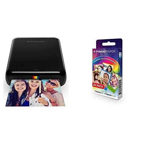 Polaroid Zip - Impresora móvil, Bluetooth, NFC, Micro USB, tecnología Zink Zero Ink, 5 x 7.6 cm, Compatible con iOS y Android, Negro, 2.2 x 7.4 x 12 cm + Premium Papel