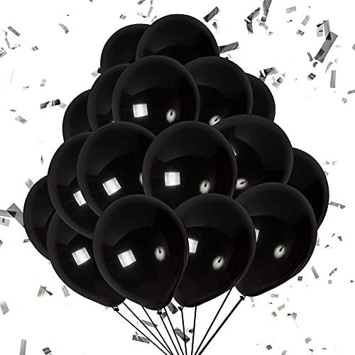 Globos Negro,Globos de Cumpleaños Globos de Fiesta de Diversos Colores Globos metálicos brillantes,Globo Látex Metálic (Negro)