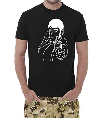 maglia lupin T-Shirt Uomo Cotone Basic Super vestibilità Top qualità. Made in Italy. Lupin Il pricipe dei ladri (Nero