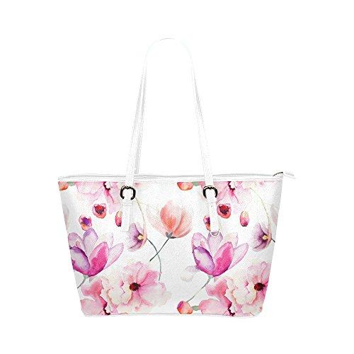 InterestPrint Modern Spring Pink Flowers Watercolor Women's Leather Tote Shoulder Bags Handbags