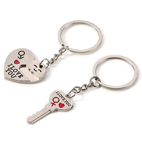 SSyang Couple Porte-clés,Amoureux Forme de Coeur Keychain,Amoureux Keychain Élégant Pendentif argenté Porte-clés pour,Anniversaire pour Couples/Amoureux,La Saint-Valentin Cadeau