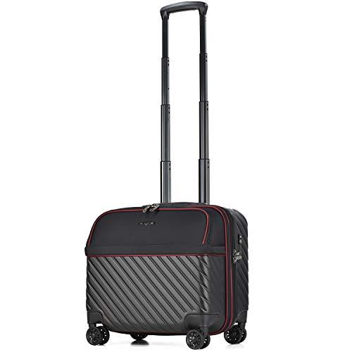 【amant】スーツケース 機内持ち込み フロントオープン ビジネスキャリー 8輪 機内持込 【AVANT】 小型 ダブルキャスター キャリーケース キャリーバッグ 前ポケット 軽量 PCホルダー ビジネス 静音 TSAロック エキスパンド (ブラック, 横型)