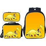 HOOBBI Mochila de 3 Piezas del Juego, Bolsa de la Escuela para niños a Prueba de Agua, Mochila de Pikachu Transpirable cómoda con Bolsa de Almuerzo y Bolsa de lápiz (Color : Pikachu10)