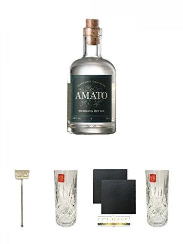 Amato Gin Deutschland 0,5 Liter + Six Ravens Stirrer 1 Stück + Windspiel Hi-Ball Glas 1 Stück 350 ml + Schiefer Glasuntersetzer eckig ca. 9,5 cm Ø 2 Stück + Windspiel Hi-Ball Glas 1 Stück 350 ml