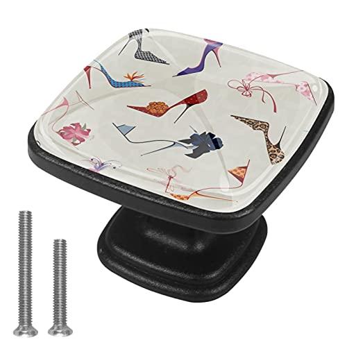 Perillas de gabinete 4 pcs Round Knobs Knobs Tiradores de puerta de de con tornillos para la cocina de cajón de gabinete,Elegantes tacones altos chic