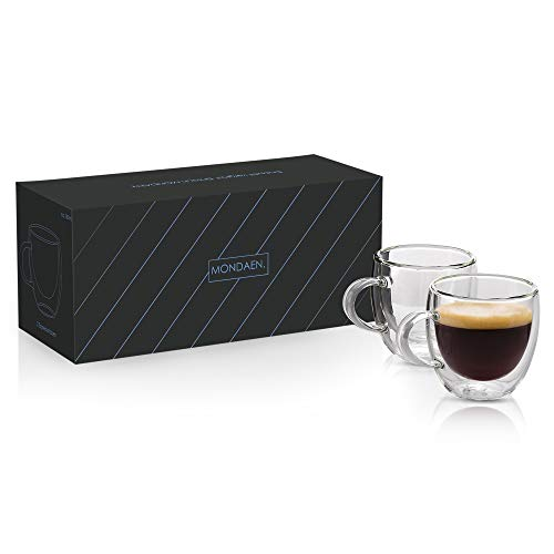 MONDAEN. Elegante espressokopjes - dubbelwandig van hoogwaardig borosilicaatglas - set van 2 thermo-geïsoleerd voor uitgebreid espressogenot - mondgeblazen 80 ml