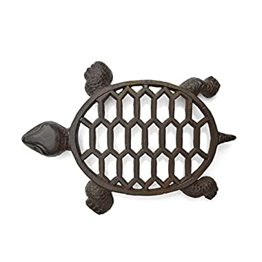 gasare, Cast Iron Trivet for Hot Dishes, Teapot Trivet, Turtle Decoration, Rubber Covers, 12 x 9 Inches, Cast Iron, Brown, 1 Extra Large piece
