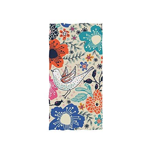 Alaza, toalla de gimnasio de microfibra, diseño de pájaros y flores, de secado rápido, para deportes y fitness, 38 x 76 cm