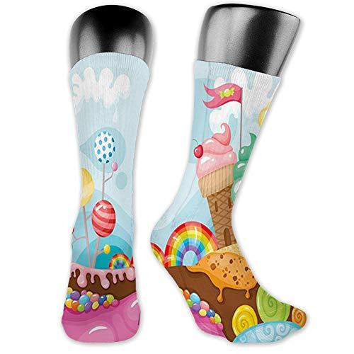 Medium long Crew Socks,Ice Cream,Dessert Land with Rainbow Candies Lollipop Trees and Cupcake Mountains Cartoon,Unisex 15.7',Pink Blue