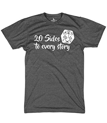 Guerrilla Tees Dungeons and Dragons Shirt There are 20 Sides to Every Story, Heather Charcoal, Large