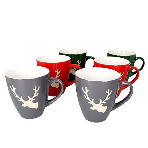 MamboCat 6-er Kaffee-Becher-Set Hirsch konisch Weihnachten I Keramik-Tasse groß mit Hirschkopf - 2X Rot Grün & Grau I große Jumbo-Tee-Tasse - Tea & Coffee Mug I 250 ml Weihnachts-Tassen-Set 6 St.