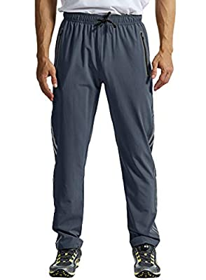 TBMPOY Men's Outdoor Hiking Pants Quick Dry Lightweight Mountain Running Active Jogger Pants Zipper Pockets Cool Grey M