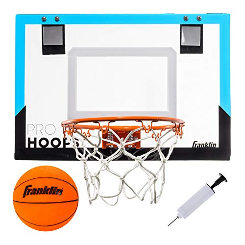 Franklin Sports Over The Door Mini Basketball Hoop - Slam Dunk Approved - Shatter Resistant - Accessories Included, Blue, One Size