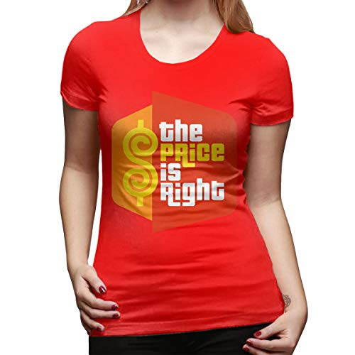 Women's Casual The Price is Right Tee T Shirt Short Sleeve O-Neck Cotton T-Shirt Sports Tops for Teens Plus Size Shirt Red