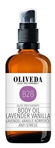 Oliveda B28 - Körperöl Lavendel Vanille | Anti Stress | natürliches Pflegeöl | Pflege und Schutz vor Trockener haut | regenerierend & beruhigend - 100 ml