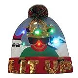 Sombrero de Navidad Gorra de Punto de LED Luz Sombrero de Patrón de Papá Noel...