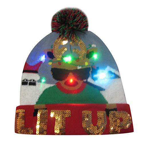 Sombrero de Navidad Gorra de Punto de LED Luz Sombrero de Patrn de Pap Noel Reno Monigote de Nieve Oso Favores de Fiesta para Adultos y Nios Yvelands B