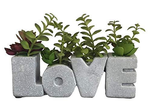 "Love Letter Succulent Planter with 4 Faux Succulent Plants, Concrete, 9.4"" Inch Long - Rustic Home Decor with Artificial Succulent Garden - Premium Greenery Decor for Kitchen, Office"