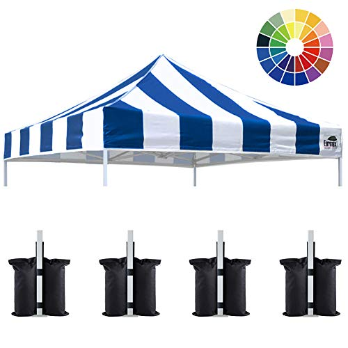 Eurmax New 10x10 Pop Up Canopy Replacement Canopy Tent Top Cover, Instant Ez Canopy Top Cover ONLY, Choose 30 Colors (Stripe Blue)