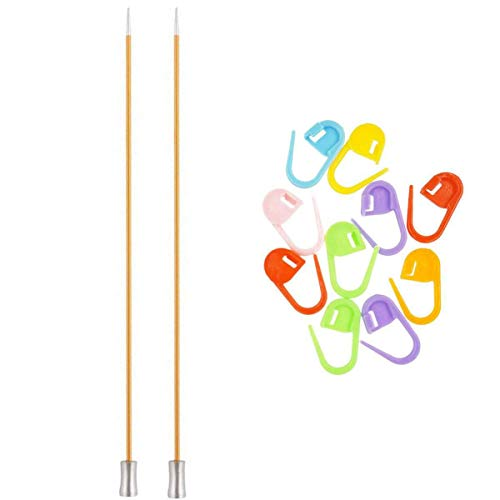 Knitter's Pride Knitting Needles Zing Straight 10 inch Size US 1 (2.25mm) Bundle with 10 Artsiga Crafts Stitch Markers 140242