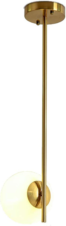 SXMY Nordic Glaskugel Runde Kronleuchter LED Pendelleuchte Innenbeleuchtung Dekorative leuchten für Wohnzimmer Schlafzimmer-Gold-1head