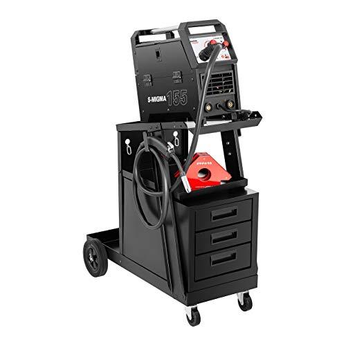 Stamos Welding Group SWG-WC-3D Schweißwagen mit Schubladen Wagen für Schweßgeräte Werkstattwagen (Belastbarkeit 75 kg, 3 Schubladenfächer, obere Ablagefläche 45 x 30 cm, Stahl, Gasflaschenhalterung)