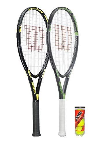 Wilson Tour - Raquetas de tenis (2 unidades, color negro y plateado) y 3 pelotas de tenis.