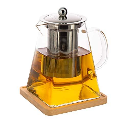 Glasteekanne mit siebeinsatz,Quadratische teekanne mit herausnehmbarem Aufguss,teeservice mit teesieb,Bonus-Teekannen und Aufgussuntersetzer 950ml