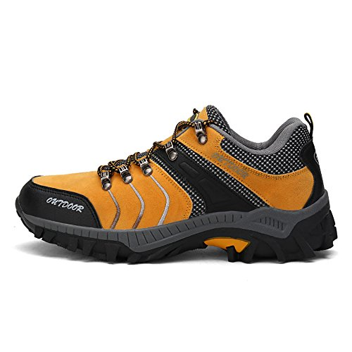 TANTU Men's Outdoor Mountaineering Shoes, Waterproof, Anti-Skid, Lightweight, Breathable, Wearable, Hiking Shoes (6.5, Yellow)