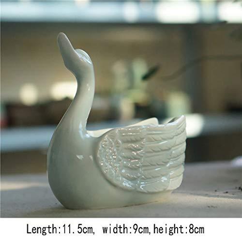MNYHY Blumentopf Ceramic Schwan Porzellantopf Dekoration Sukkulenten Blumentopf / 4 Stück