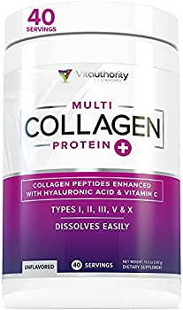 Multi Collagen Peptides Plus Hyaluronic Acid and Vitamin C Hydrolyzed Collagen Protein Types I II III V and X Collagen Unflavored