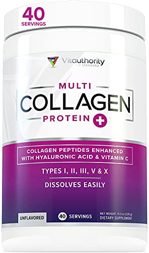 Multi Collagen Peptides Plus Hyaluronic Acid and Vitamin C, Hydrolyzed Collagen Protein, Types I, II, III, V and X Collagen, Unflavored