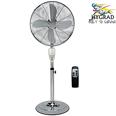 "G4RCE HYGRAD ® Pedestal Fan Floor Standing Air Fan 16"" Oscillating with Remote Control + 7 Hours Timer Remote 3 Modes Speed Refresher Room for Home Office Etc (Chrome)"