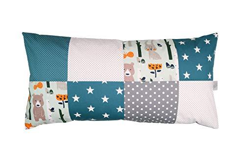 ULLENBOOM ® patchwork kussenhoes l 40x80 cm l katoenen kussenhoes voor sierkussens in de kinderkamer en babykamer I bosdieren petrol