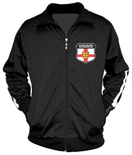 Amdesco Men's English Pride, England Track Jacket, Black w/One Stripe Small