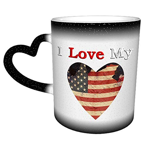 Taza de I Love My American Flag Ao, divertida taza de café de cerámica de 11 oz, taza de café de Navidad de cumpleaños única