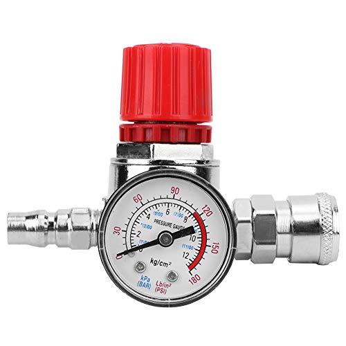 Akozon Interruttore del regolatore di pressione del compressore d'aria Manometro della valvola di controllo con connettore maschio/femmina