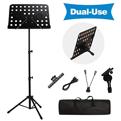 T-SIGN Dual-Use Sheet Music Stand, Tabletop Music Book Stand, Metal Music Stand for Sheet Music, Portable Music Stand for Desktop and Floor Use,...
