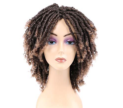 Stilikone 6 kurze dreadlock-Perücke Twist-Perücken für schwarze Frauen kurze lockige synthetische Perücken brown