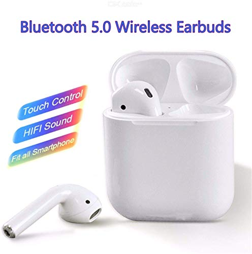 EarPods 5.0 Wireless Bluetooth Sweat Proof Head Phones with Charging Portable Storage case (White) with Touch Tone Sensitivity and Easy Pairing Noise Cancellation with Microphone for Hands Free