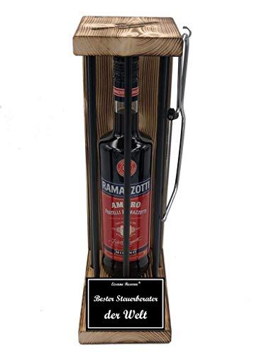 * Bester Steuerberater der Welt - Eiserne Reserve ® Black Edition mit Ramazzotti 0,70L incl. Säge zum zersägen der Stäbe - Die lustige Geschenkidee