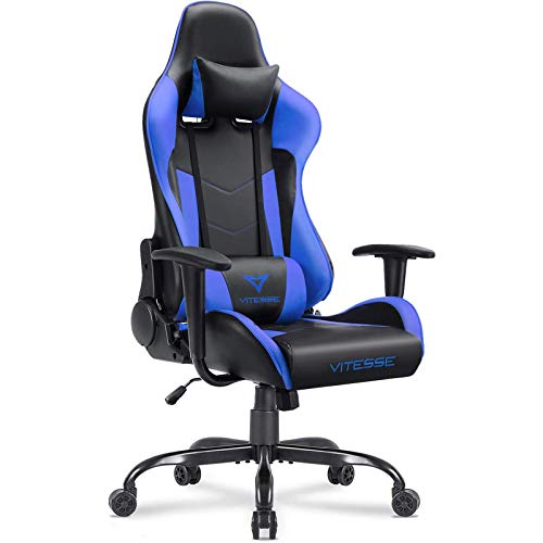 VIT Gaming Chair Racing Style High Back PC Chair Ergonomic Office Desk Chair Swivel E Sports Leather Computer Chair with Lumbar Support and Headrest, Blue