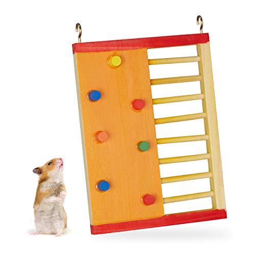 Relaxdays Hamster Zubehör, Kletterwand, ungiftiges Holz, HxB: 19 x 14 cm, zum Aufhängen, Ausstattung Hamsterkäfig, bunt