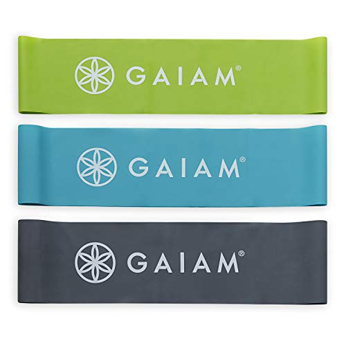 """Gaiam Restore Mini Band Kit, Set of 3, Light, Medium, Heavy Lower Body Loop Resistance Bands for Legs and Booty Exercises & Workouts, 15"""" x 4"""" Bands"""