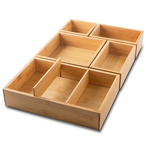 itena® Schubladen Organizer aus Bambus I herausnehmbare Trennwände I 5-teiliger Schreibtisch-Organizer I innovatives Schubladen-Ordnungssystem für Büro, Küche und Bad I 27 x 45,5 x 5,5 cm (LxBxH)
