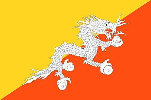 INERRA Große 150cm X 90cm Flaggen Asien Reihe mit 2 Metall Ösen 5ft X 3ft - Bhutan